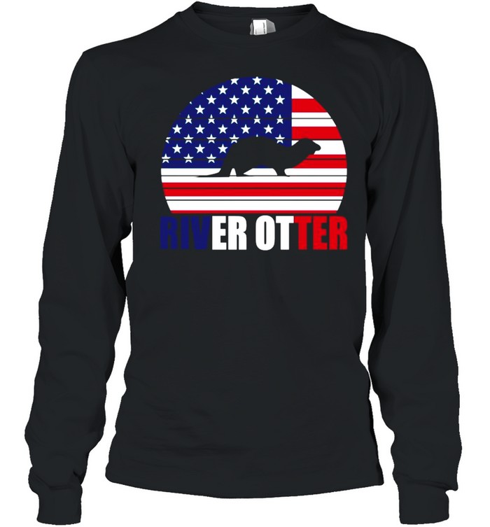 American Flag With River Otter 2021 shirt Long Sleeved T-shirt