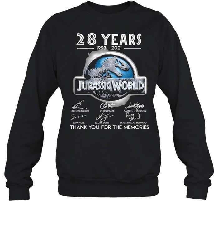 28 Years 1993 2021 Jurassic World Signatures Thank You For The Memories  Unisex Sweatshirt